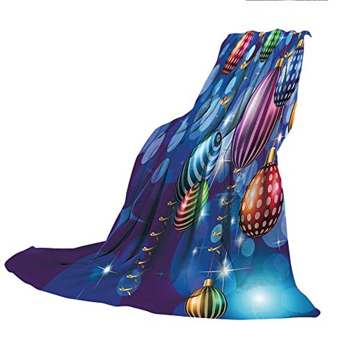 """SCOCICI Customized Comfortable Blanket Sofa Bed or Bed 3D Printing,Christmas Decorations,Happy New Year Party Decorations with Swirling Ornaments Balls Print,Blue Gold,47.25"""" W x 78.74"""" H"""