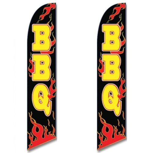 Twin Pack Full Sleeve Swooper Flags BBQ Black w Yellow Text & Red Flames