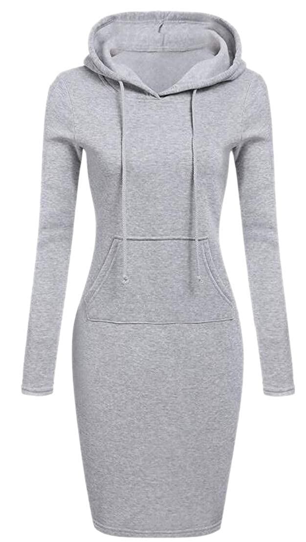 HANA+Dora Women Hood Dress Solid Pullover Pockets Sweatshirt