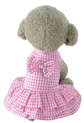 MaruPet Elegant Ribbon Pet Dress Cozy Sundress Shirts Check Pleated Tutu One-Piece for Teddy, Pug, Chihuahua, Shih Tzu, Yorkshire Terriers Pink L]()