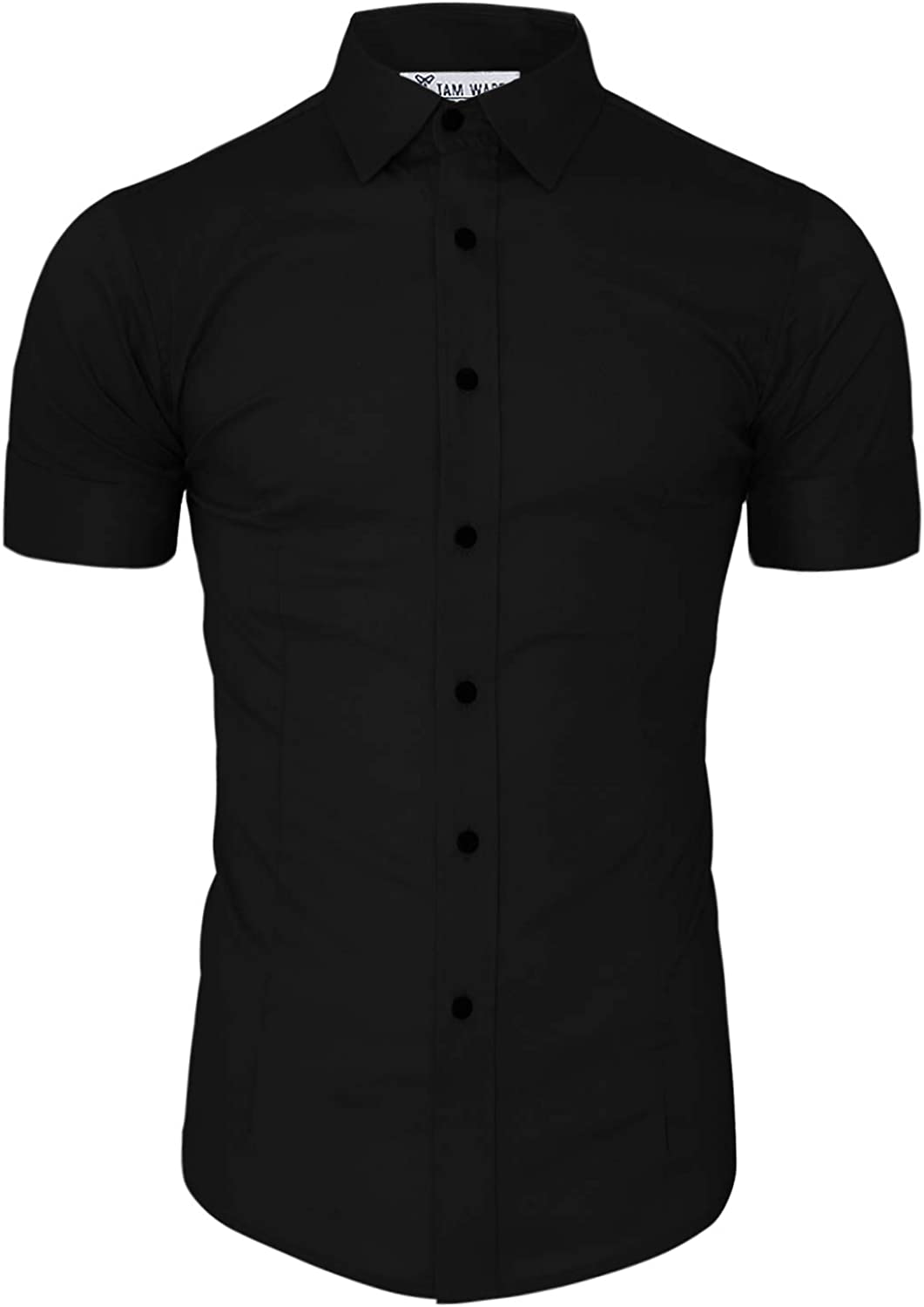 TAM WARE Mens Short Sleeve Wrinkle Free Button Down Shirt
