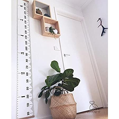 AOLVO Hanging Growth Height Ruler, Roll-up Canvas Height Measurement Chart with Wood Frame for Infant Baby Kids Toddlers Adults Room Wall Decoration