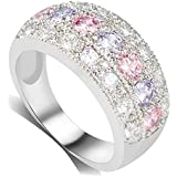 Sumanee 1Pc Female Silver Ring Engagement Rings For Women Crystal Fashion Jewelry (10)