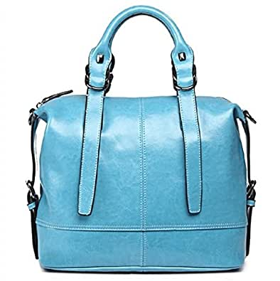 Womens Candy Color Genuine Leather Top Handle Tote Handbag Shoulder Bags (Blue)