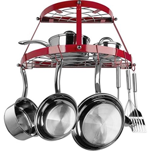Double Shelf Red Wrought Iron Wall Kitchen Pot Rack (Flat Bottom Canner)