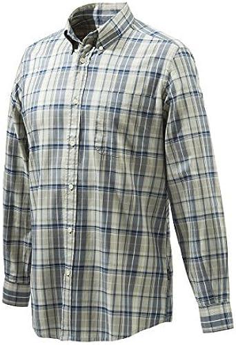 BERETTA Camisa para hombre clásica de color beige y azul, de ...