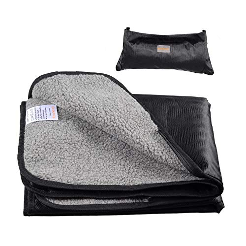 He&Ha pet Dog Mat Portable Waterproof Pet Blanket for Outing Car Trip with a Storage Bag for Small Medium Large Dogs