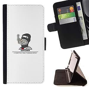 BullDog Case - FOR/HTC One M8 / - / Gentleman Smoking Cigarette - Funny /- Monedero de cuero de la PU Llevar cubierta de la caja con el ID Credit Card Slots Flip funda de cuer