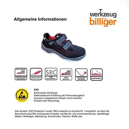 Sicherheitssandale - Super Leicht - Sicherheitsschuhe - Arbeitsschuh - Schuhe - Sicherheitsklasse S1P ESD - schwarz/rot - Schuhweite 11 - Gr. 43
