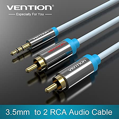 Vention ® 3.5mm male jack connector to 2 male RCA connector cable, Gold Plated Y Splitter RCA Phono Stereo Audio Cable for Home Theater, HDTV, Gaming Consoles, Hi-Fi Systems (2m, Black) P550