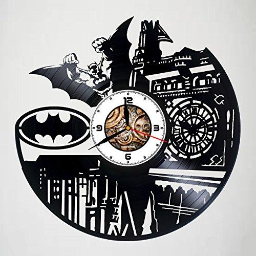 BATMAN - ACTION FIGURE - MOVIE - Handmade Vinyl Wall Clock - Gift idea for birthday, christmas, women, men, friends, girlfriend boyfriend and teens - living kids room nursery - ()