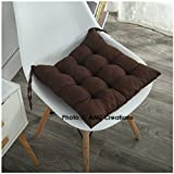 AMZ Premium Microfibre Cotton Chair Cushion Seat Pad for Indoor Outdoor Dining Home Office Garden Decor,15x15-inch (Brown)