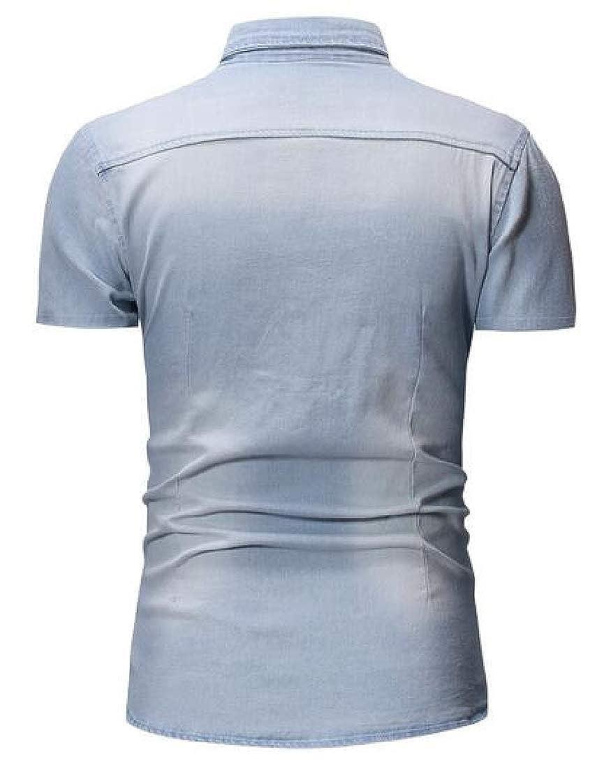 Jotebriyo Mens Short Sleeve Summer Slim Pocket Front Button Up Denim Work Western Shirt