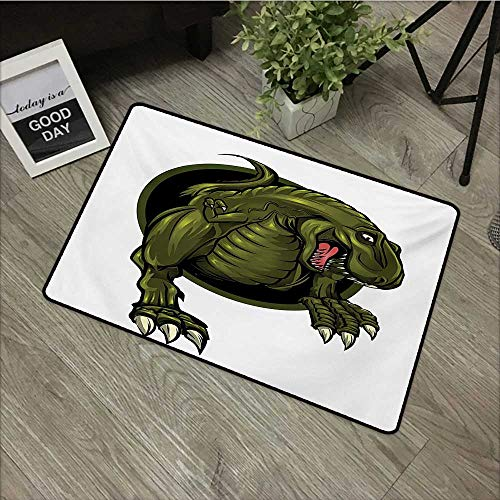 Clear Printed Pattern Door mat W35 x L47 INCH Jurassic,Roaring T-rex Mascot Ancient Animal Horror Wildlife Wilderness Extinct,Olive Green Brown with Non-Slip Backing Door Mat Carpet
