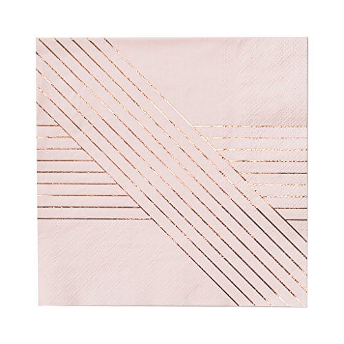 Harlow & Grey Pale Pink w Rose Gold Striped Lunch Paper Napkins - Birthday, Wedding, Showers Party Napkins Amethyst (20 Count)