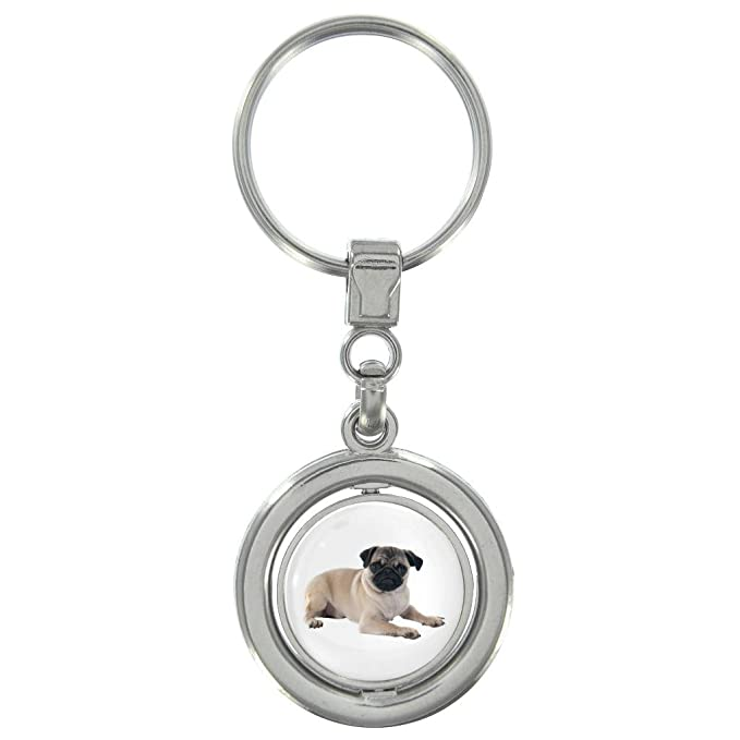 Schnauzer Puppy Image Metal Spinning Keyring in Gift Box