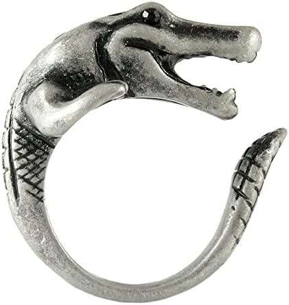 Enhanced Crocodile Alligator Adjustable Animal Wrap Ring Vintage Silver Tone