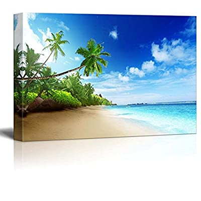 Canvas Prints Wall Art - Beautiful Landscape Beach in Sunset Time on Mahe Island in Seychelles | Modern Home Deoration/Wall Art Giclee Printing Wrapped Canvas Art Ready to Hang - 16