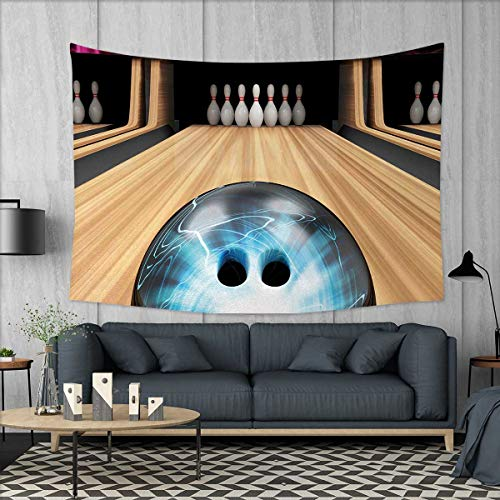 Superbe Bowling Party Home Decorations For Living Room Bedroom Ball Rolling On A  Wooden Lane Image Activity Fun Competition And Challenge Wall Tapestry W80  X L60 ...