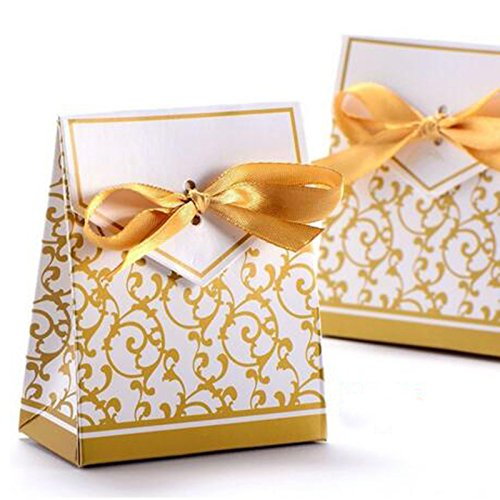(GRC[TM] Best Price 100 pcs Gold Wedding Gift Favors Favor Candy Cake Party Boxes Bags Anniversary )