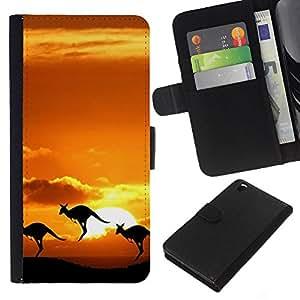 KingStore / Leather Etui en cuir / HTC DESIRE 816 / Nature Outback Kangaroo