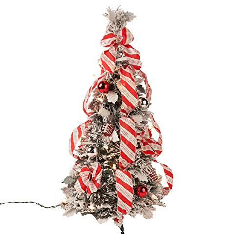 Fox Valley Traders 2' Snow Frosted Candy Cane Pull Up Tree by Holiday PeakTM