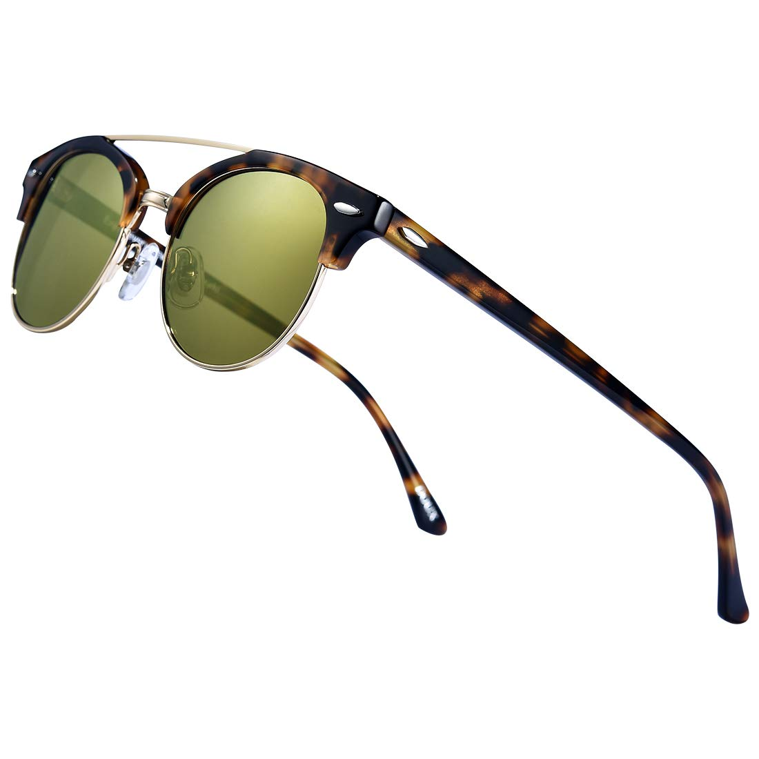 Retro Wayfare Polarized Sunglasses Half Frame丨DOUX Semi-Rimless Vintage Mirrored Lens by DOUX