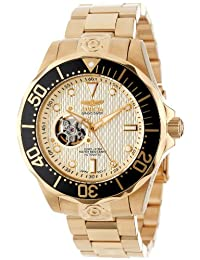Invicta Men's 13710 Grand Diver Automatic Gold Textured Dial 18k Gold Ion-Plated Stainless Steel Watch