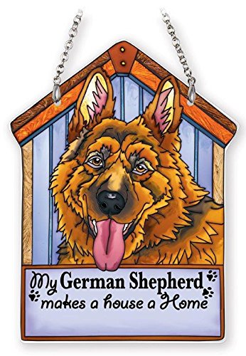 Amia 42107 Hand Painted Glass German Shepherd Dog House Suncatcher, 5-1/2 by 7-1/4-Inch (Suncatcher Dog)