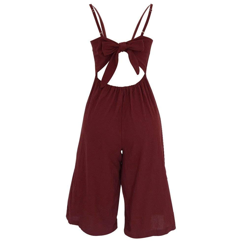 GWshop Ladies Fashion Elegant Jumpsuit Women Jumpsuits Elegant Wide Leg Summer Strappy Soild Button Long Trouser Playsuits Wine S by GWshop (Image #5)