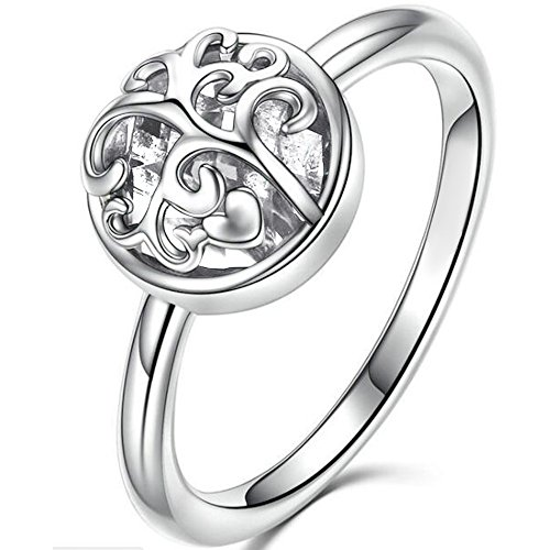 Jude Jewelers Stainless Steel Tree of Life Heart Shaped Cocktail Party Statement Ring (Silver & Clear, 11)