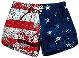 Sister Amy Women's Drawstring Elastic Waist Casual Quick Dry Print Beach Shorts E-Blood USA Flag X-Large