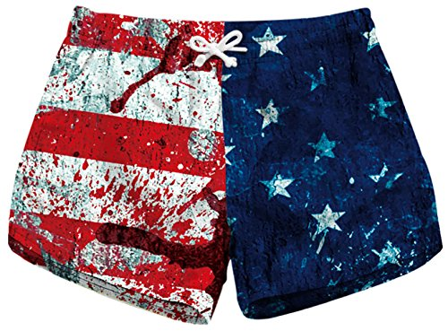 Sister Amy Women's Drawstring Elastic Waist Casual Quick Dry Print Beach Shorts E-Blood USA Flag X-Large by Sister Amy