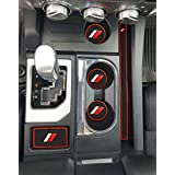 Auovo Anti-dust Mats for Toyota Tundra Accessories TRD Pro 2014-2021 Custom Interior Cup Holder Inserts Center Console Door Liners (Bucket Seat, Crewmax, 23pcs, Red Trim) (Color: Red, Tamaño: Bucket Seats (SEATING FOR 5))
