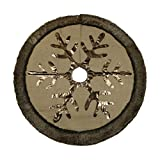 "Valery Madelyn 48"" Woodland Collection Burlap Tree Skirt with Faux Fur Trim Border"