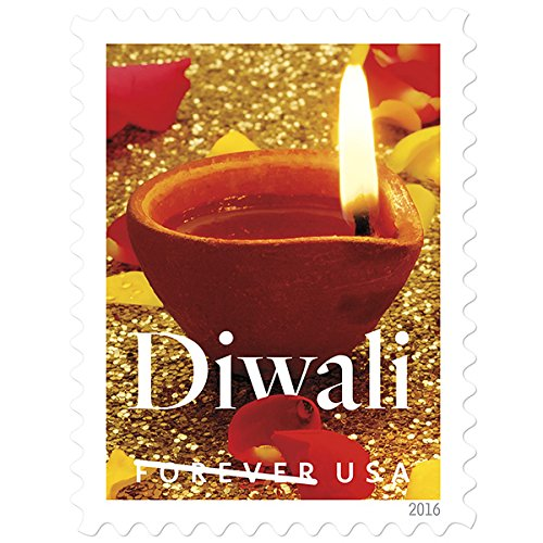 The Diwali USPS Forever First Class Postage Stamp U.S. Holiday Hindu Indian Sheets (100 Stamps) (5 Sheets of 20 stamps) (5 - International Shipping Usps Letter Time