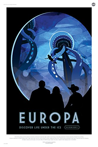 Europa: Discover Life Under The Ice - NASA Jpl Space Tourism Travel Poster Unframed