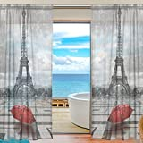 SEULIFE Window Sheer Curtain, France Paris Eiffel Tower Red Umbrella Voile Curtain Drapes for Door Kitchen Living Room Bedroom 55x84 inches 2 Panels