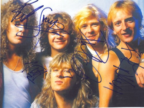 Def Leppard 2 Photo with Reproduction Signature archival Quality