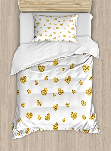 Gold and White Duvet Cover Set by Ambesonne, Little Heart Shapes Romantic Love Party Valentines Day Inspired Image, 2 Piece Bedding Set with 1 Pillow Sham, Twin / Twin XL Size, Yellow and White