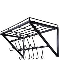 Oropy Wall Mounted Pot Rack Storage Shelf with 2 Tier Hanging Rails 12 S Hooks included, Ideal for Pans, Utensils, Books, Plant Black