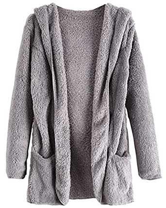 ZAFUL Fluffy Hooded Open Front Sherpa with Pocket Teddy Outwear Winter Gray
