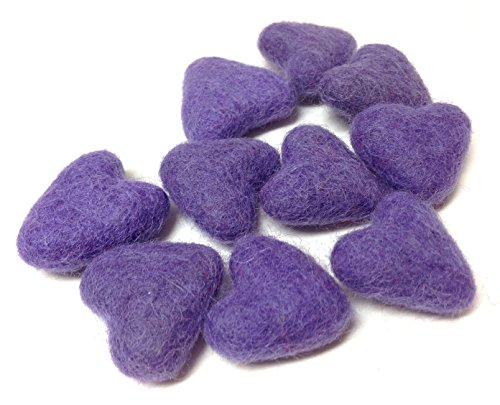 Yarn Place Felt Wool Felted Sculpted Hearts 10 Piece 1 Color 30mm (3cm) Lavender