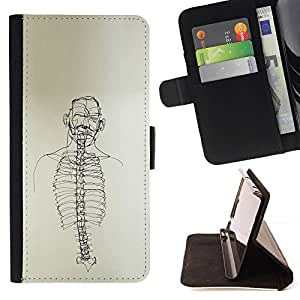 Momo Phone Case / Flip Funda de Cuero Case Cover - Dibujo Esqueleto Spine Arte Negro Blanco Lápiz - HTC DESIRE 816