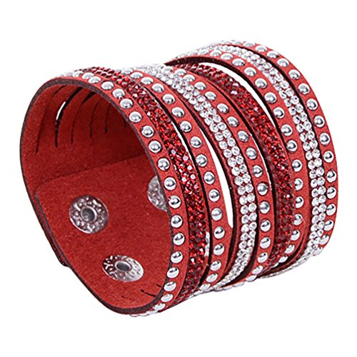 Ameesi Women's Multilayer Rivet Rhinestone Velvet Cuff Bangle Wristband Bracelet Gift - Red