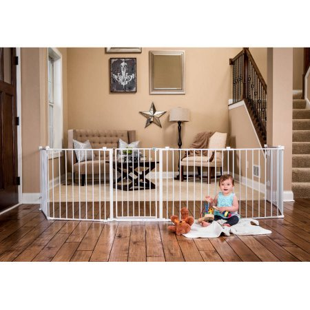 Regalo 8 Panels Extra Wide Lightweight Baby Gate and Playard with Walk Through Door - White by Regalö (Image #4)