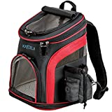 Katziela Pet Carrier Backpack - for Small Dogs and Cats - Water Bottle, Waste Bag and Storage Pouches, 3 Mesh Windows, Leash Hook - 3 Option Top: Open, Mesh or Shade - Bonus: 2 Poop Bag Rolls – Red