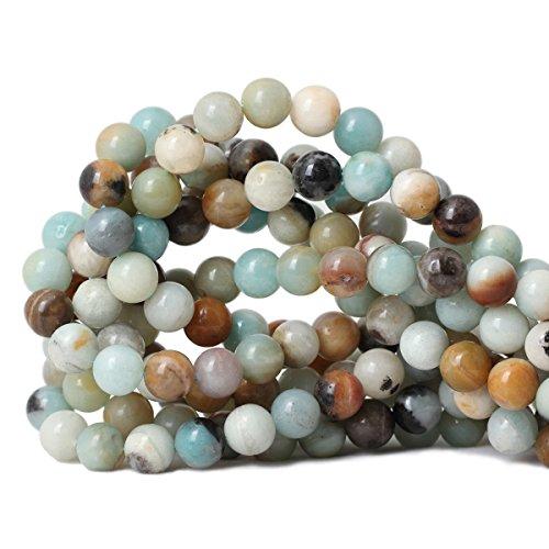 (Qiwan 35PCS 10mm Amazonite Gemstone Loose Beads Natural Round stone Crystal Energy Stone Healing Power for Jewelry Making 1 Strand 15