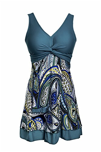 NoNoCat One Piece Shaping body Floral Swimwear Plus Size Bathing suit for Women,Green,L(US 12-14) (Plus Size Bathing Suits)