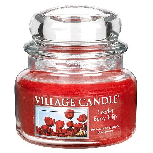 Village Candle Vela Pequeña con Aroma Dulcamara y Tulipán, Cristal, Rojo, 10.4x10.1x10.1 cm 106311190